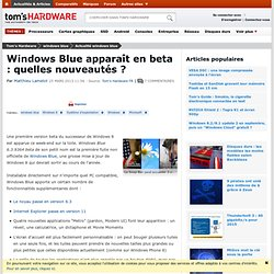 Windows Blue apparaît en beta : quelles nouveautés ?