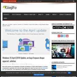 Windows 10 April 2018 Update, un bug d'espace disque apparait, solution