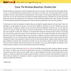 Cover The Windows Beautifully: Shutters Star