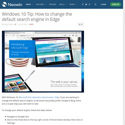 Windows 10 Tip: How to change the default search engine in Edge