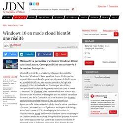 06/10/15 Windows 10 en mode cloud bientôt uneréalité