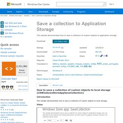 Windows 8 Save a collection to Application Storage sample in C# for Visual Studio 2012