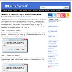 Windows Run commands you probably never knew - instant fundas