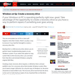 Windows 10 tip: Create a recovery drive