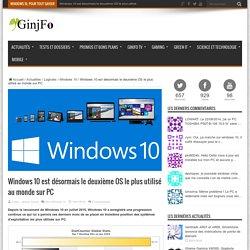 19/01/16 Windows 10 est désormais le deuxième OS le plus utilisé au monde sur PC