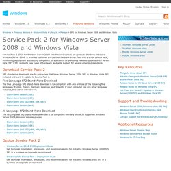 Windows Server 2008 SP2 and Windows Vista SP2 Information