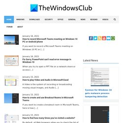Windows 7 | 8 Tips, Features and Downloads | The Windows Club