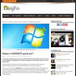 Windows 7 et KB4598279, quoi de neuf