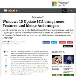 Windows 10 Update 1511 bringt neue Features und kleine Änderungen