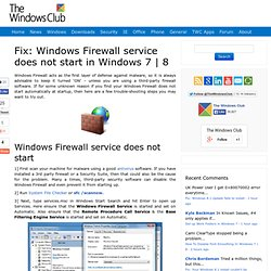 Fix: Windows 7 or Vista Firewall Fails To Start At Startup