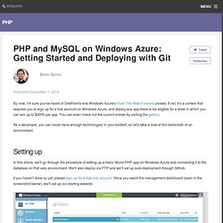 PHP and MySQL on Windows Azure: Getting Started and Deploying with Git