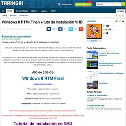 Windows 8 beta + tuto de instalación VHD