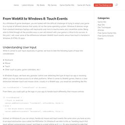 From WebKit to Windows 8: Touch Events