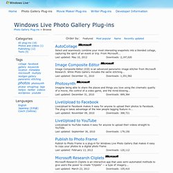 Windows Live Photo Gallery Plug-ins