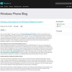 Windows Marketplace for Windows Mobile 6 and 6.1