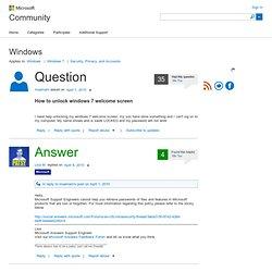 How to unlock windows 7 welcome screen