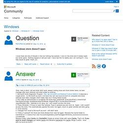 Windows store doesn't open - Microsoft Community
