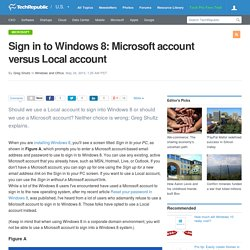 Sign in to Windows 8: Microsoft account versus Local account