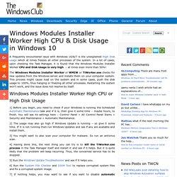 Windows Modules Installer Worker High CPU & Disk Usage in Windows 10