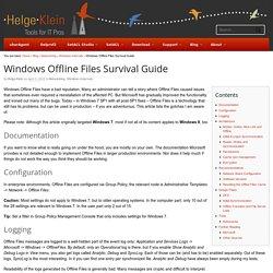 Windows Offline Files Survival Guide