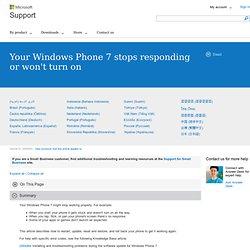 Votre téléphone Windows Phone7 ne fonctionne pas ou ne répond pas comme prévu