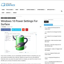 Windows 10 Power Settings For Surface