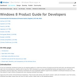 Windows 8 Consumer Preview Product Guide for Developers