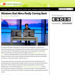 Windows Start Menu Really Coming Back