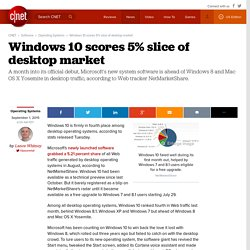 Windows 10 scores 5% slice of desktop market