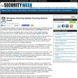 Windows Security Update Causing System Crash