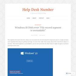 """Windows 10 Disk error """"File record segment is unreadable"""""""