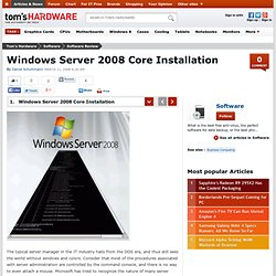 Windows Server 2008 Core Installation : Windows Server 2008 Core Installation - Review Tom's Hardware