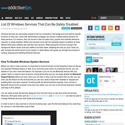 List Of Windows Services That Can Be Safely Disabled