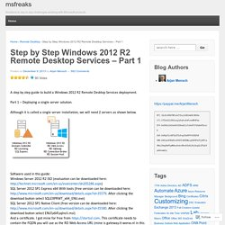 Step by Step Windows 2012 R2 Remote Desktop Services – Part 1