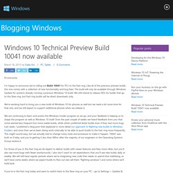 Windows 10 Technical Preview Build 10041 now available