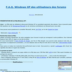 FAQ Windows XP des utilisateurs des forums