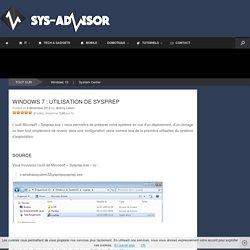 Windows 7 : Utilisation de sysprep - Sys-advisor