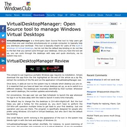 VirtualDesktopManager: Tool to manage Windows 10 Virtual Desktops