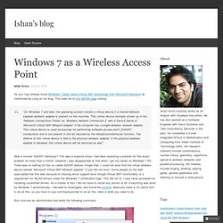 Windows 7 as a Wireless Access Point « « Ishan's