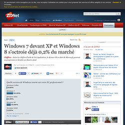 Windows 7 devant XP et Windows 8 s'octroie déjà 0,2% du marché