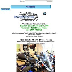 WindStrom Windshield for Suzuki V-Strom, Yamaha Tenere, BMW R1200GS motorcycle