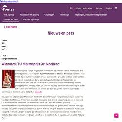 Winnaars FHJ Nieuwsprijs 2016 bekend