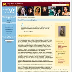 Sarah Winnemucca Hopkins : Voices From the Gaps : University of Minnesota