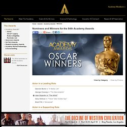 Winners for the 84th Academy Awards