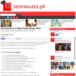 The Winners of Best Cebu Blogs 2013 | tenminutes.ph