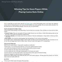 Winning Tips for Keen Players While Playing Casino Slots Online
