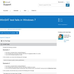 WinSAT test fails in Windows 7