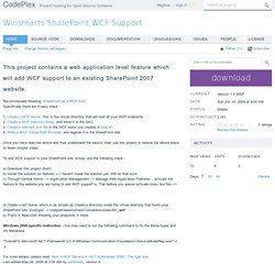 Winsmarts SharePoint WCF Support
