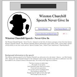 Winston Churchill Speech Never Give In