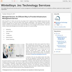 Wintellisys .Inc Technology Services: Managed Service: An Efficient Way to Provide Infrastructure Management Service